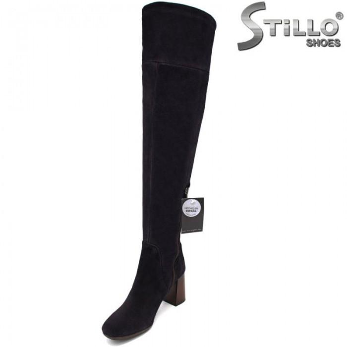 29645 -Дамски чизми над коляното от естествен син велур