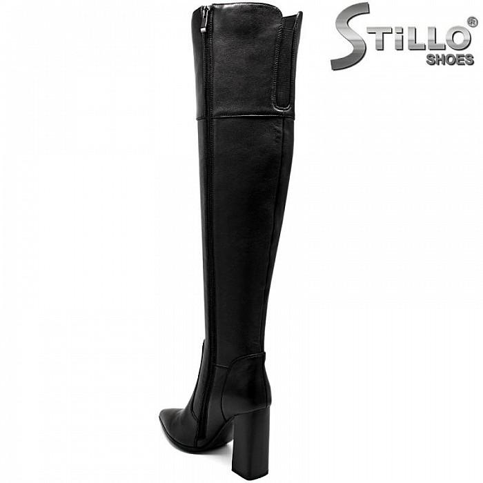 Дамски чизми от естествена кожа с висок ток - 29944