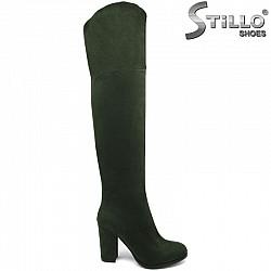 Дамски чизми от зелен велур, на висок ток - 29945