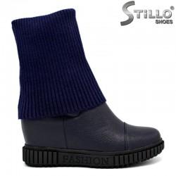 Сини боти на платформа с чорапче - 27738