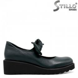 Дамски обувки от естествена зелена кожа - 30072