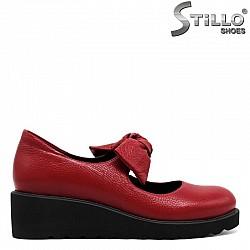 Червени дамски обувки от естествена кожа - 30074