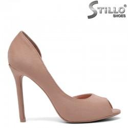 Розови отворени обувки на висок ток - 30200