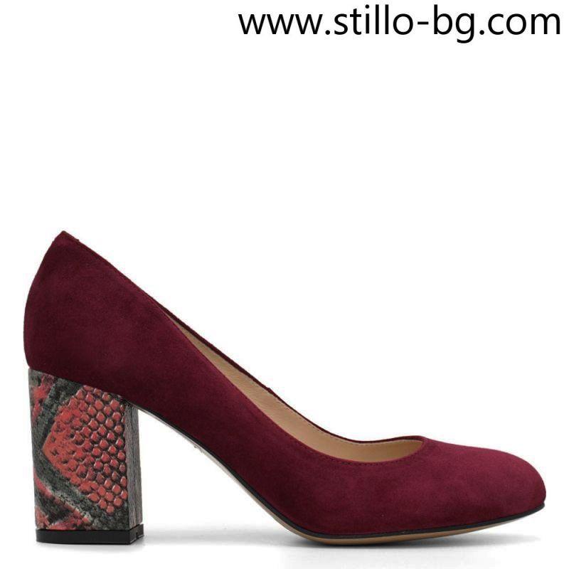Велурени дамски обувки в бордо, с шарен ток - 28859