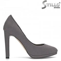 Сиви обувки на висок тънък ток с платформа - 29443