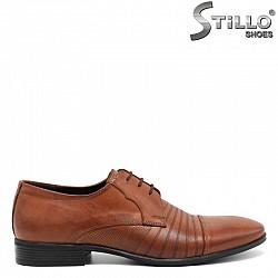 Кафяви мъжки обувки от естествена кожа - 30298