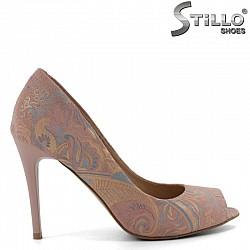 Розови отворени обувки с ток  - 30272