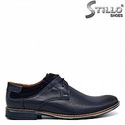 Сини мъжки обувки от кожа и велур - 30286