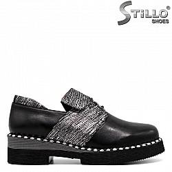 Сребърно-черни обувки от  естесвена кожа - 30324