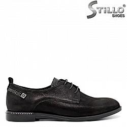 Обувки от черен набук с камъни и връзки- 30436