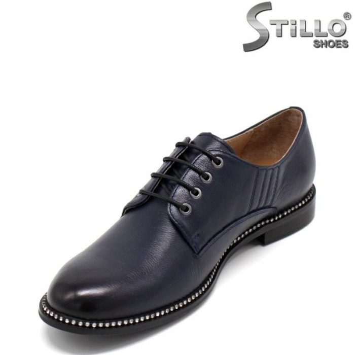 Сини дамски обувки тип Оксфорд от естествена кожа - 30447