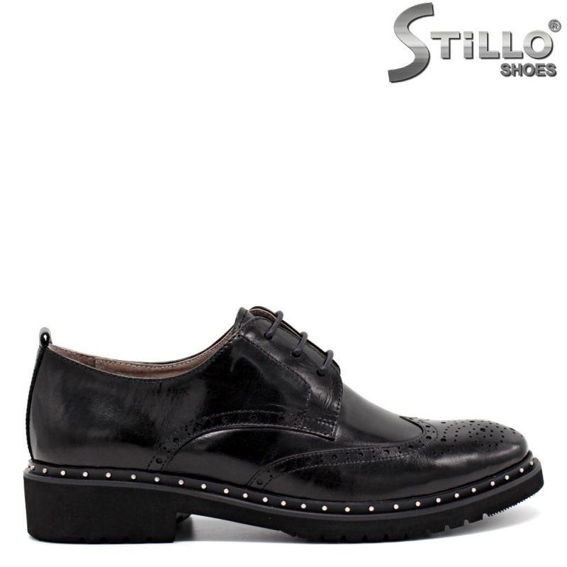 Обувки тип оксфорд с капси от естествена кожа - 30452