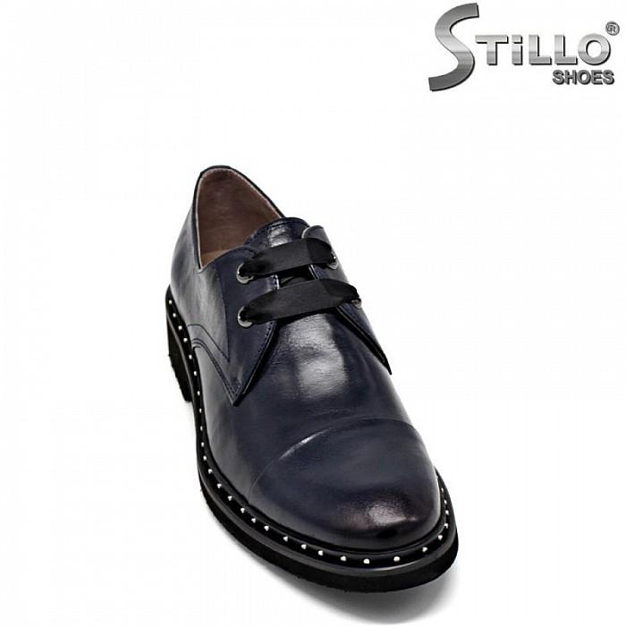 Сини обувки от естествена кожа с капси и връзки - 30454