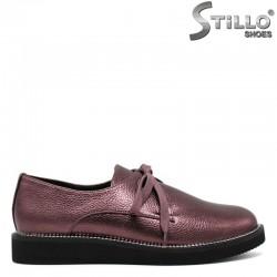 Винени дамски обувки от кожа с метален кант на ходилото - 30466