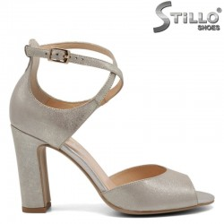 Перлено-златни сандали на висок ток - 30340