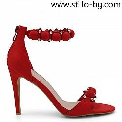 Велурени червени дамски сандали на висок ток - 28451