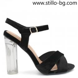 Велурени дамски сандали с прозрачен ток  - 28444