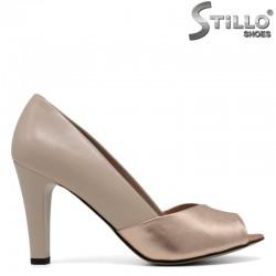 Дамски отворени обувки от естествена кожа на висок ток - 30546