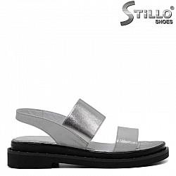 Дамски кожени сандали с ластик на свода  - 30701