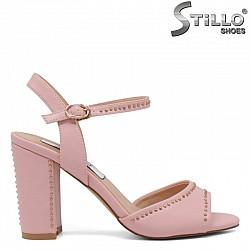 Дамски сандали украсени с капси на висок ток - 30714