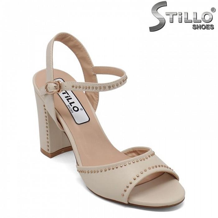 Бежови дамски сандали с капси на висок ток  - 30715
