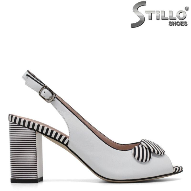 Кожени сандали с отворени пръсти на висок ток - 30741