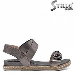 Ежедневни кожени сандали с цветя - 30842