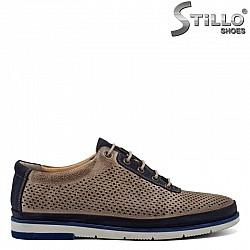 Мъжки спортни обувки с перфорация и връзки  - 30828