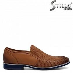 Мъжки обувки с перфорация от естествена кафява кожа - 30936
