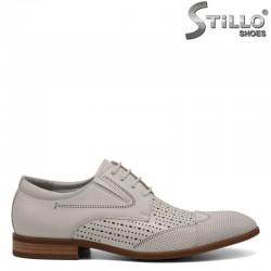 Бежови обувки от естествена кожа с връзки и перфорация - 30944