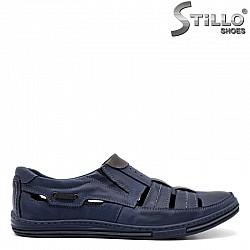 Сини обувки от естествена кожа с два ластика - 30963