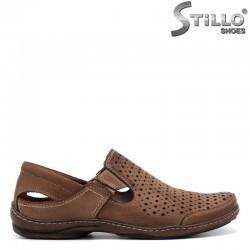 Мъжки кожени обувки с перфорация и два ластика - 30965