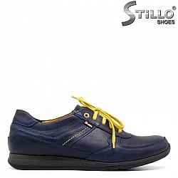 Сини обувки от естествена кожа с връзки - 30772