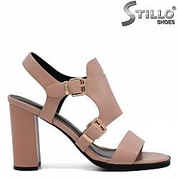 Розови дамски сандали на висок ток - 31098