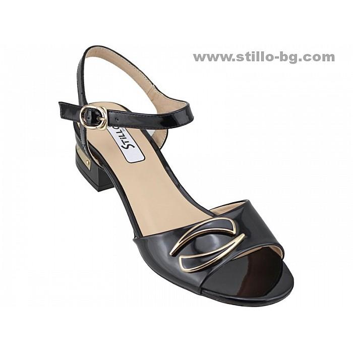 Арт. 24657 - Дамски сандали с нисък ток от черен лак