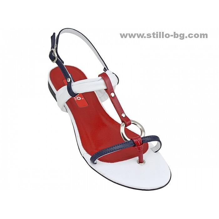 Арт. 24492 - Дамски сандали в бяло, червено и синьо