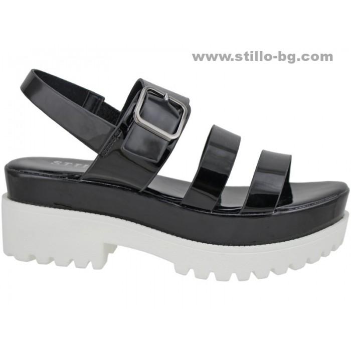 Арт. 24562 - Дамски сандали с платформа от черен лак