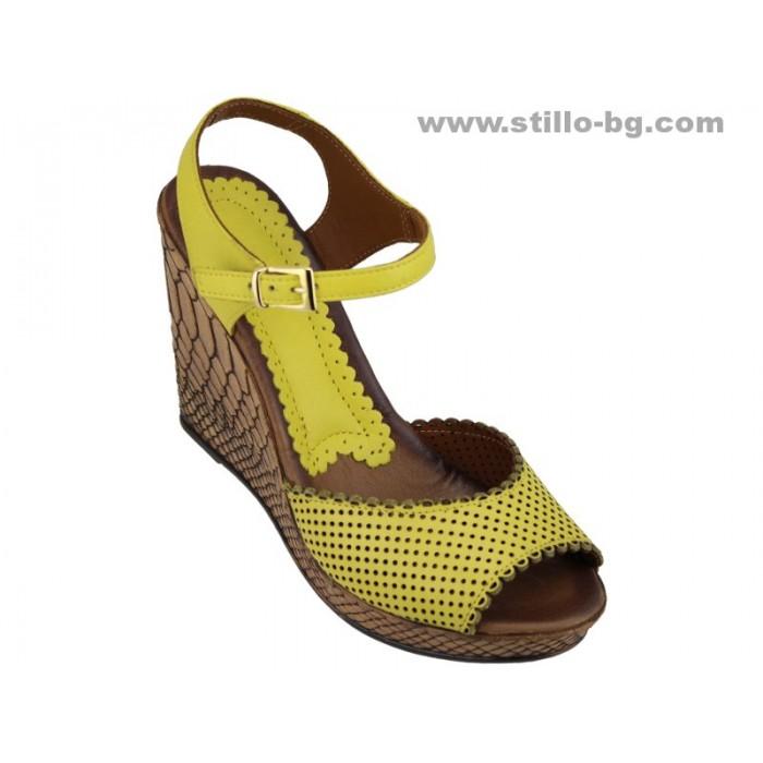 Арт. 24644 - Жълти дамски сандали с кафява платформа