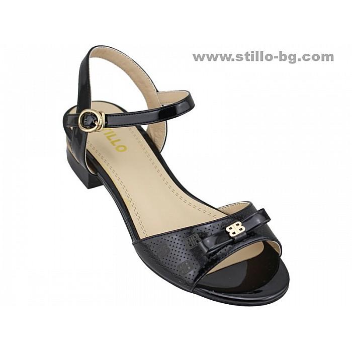 Арт. 24665 - Дамски сандали с нисък ток от черен лак