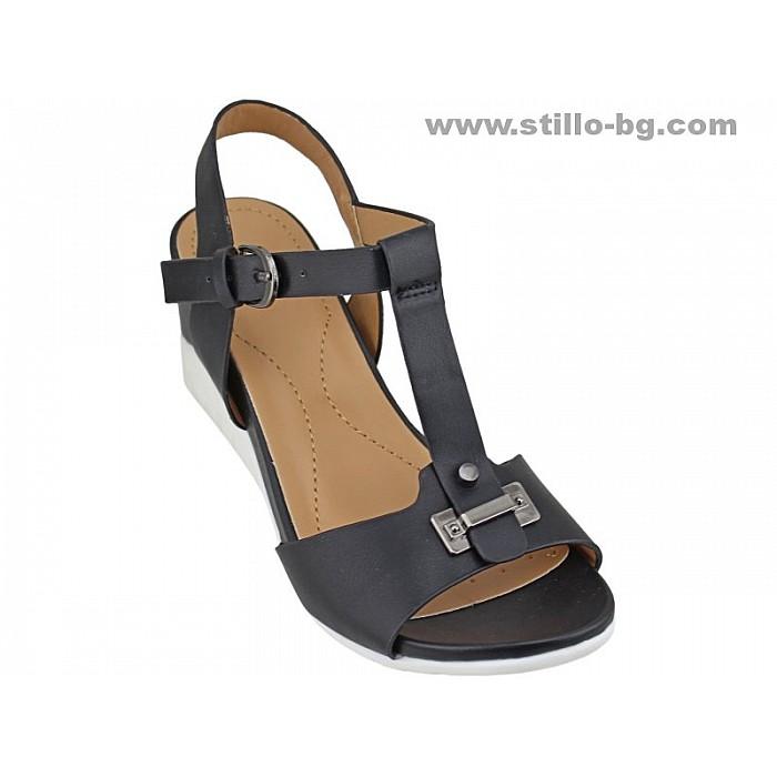 Арт. 24672 - Дамски сандали с платформа от черна кожа