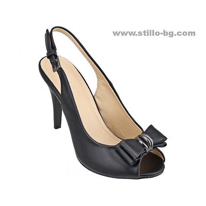 Арт. 24468 - Дамски сандали с висок ток от черна кожа