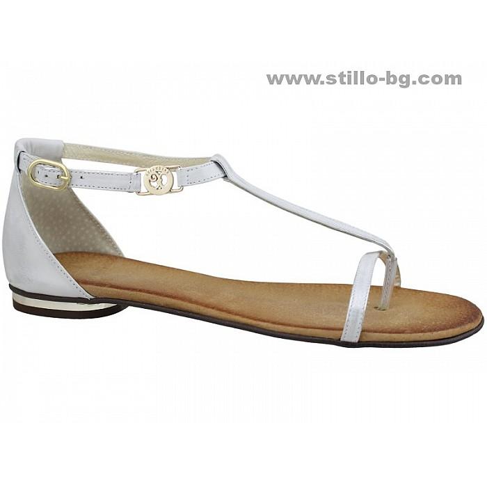 Арт. 24508- Равни дамски сандали от сребриста кожа