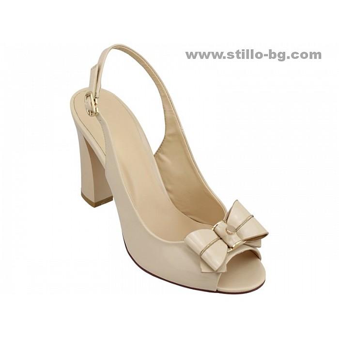 Арт. 24571 - Дамски сандали с висок ток от бежов лак