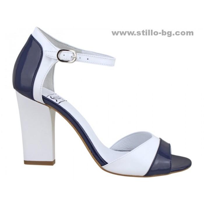 Арт. 24716 - Дамски сандали с висок ток от естествен лак