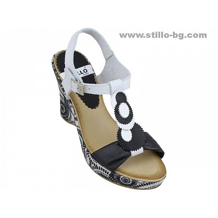Арт. 24743 - Сандали от естествена кожа в черно и бяло