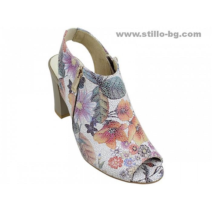 Арт. 24703 - Дамски сандали от естествена кожа на цветя