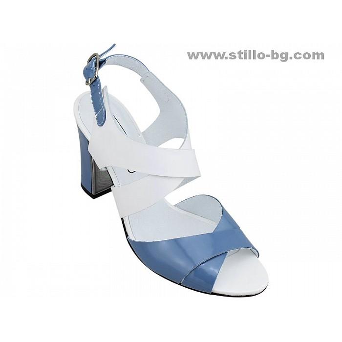 Арт. 24713 - Дамски сандали с дебел ток от естествен лак