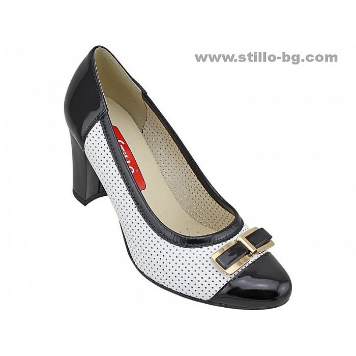 Арт. 24734 - Обувки с висок широк ток от естествена кожа