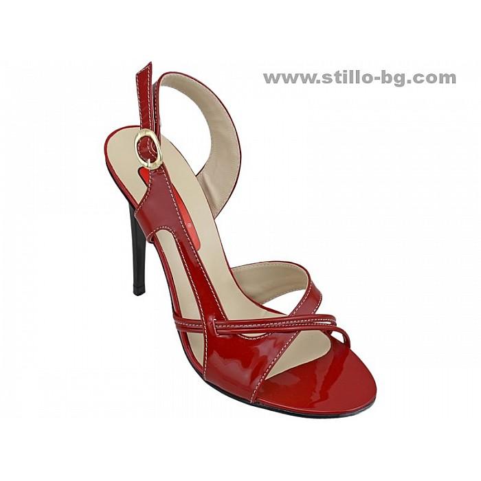 Арт. 24736 - Елегантни сандали с висок ток от червен лак