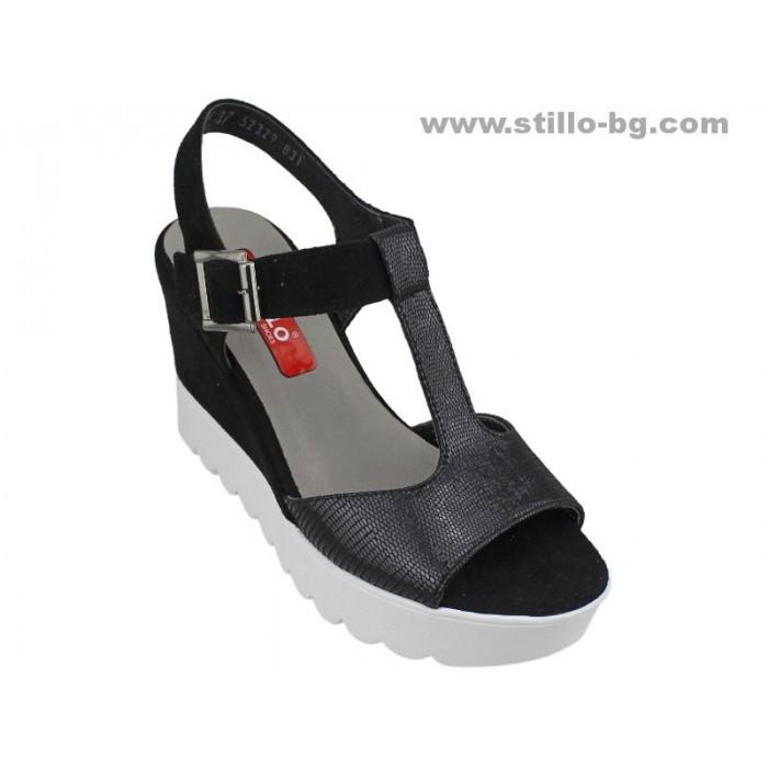 Арт. 24791 - Дамски сандали с платформа от естествен велур